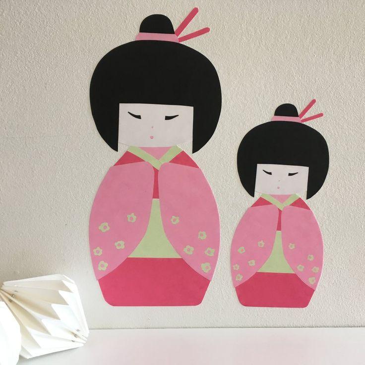 japanese kokeshi doll geisha wall stickers