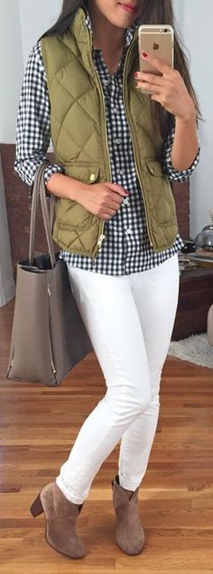 Olive vest, black and white checkered button down, white skinnies, booties