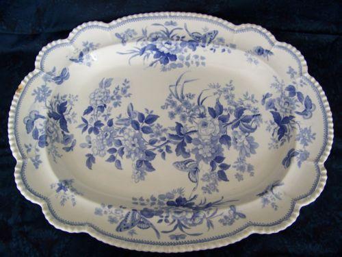 Granite China Blue Transferware Platter Large 21 X17 Circa 1840 Disheswhite