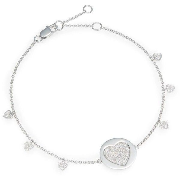 Effy Final Call Diamond & 14K White Gold Heart Charm Bracelet (260.000 CLP) ❤ liked on Polyvore featuring jewelry, bracelets, white gold bangle, 14 karat gold charm bracelet, heart charm bracelet, heart bangle and white gold charm bracelet