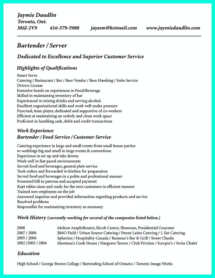 15 best resume images on Pinterest Resume skills, Resume - examples of bartending resumes