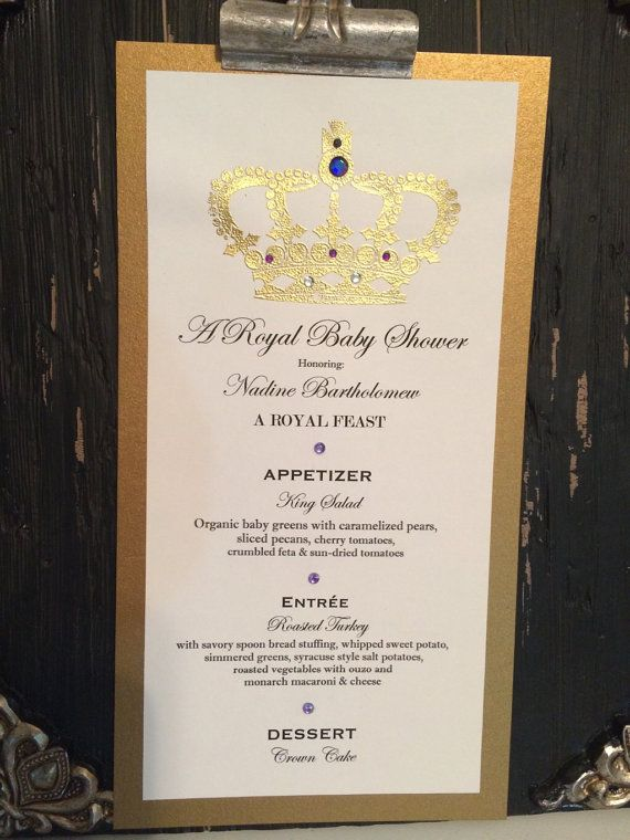 baby shower menu handmade royal baby shower menus these menus can be