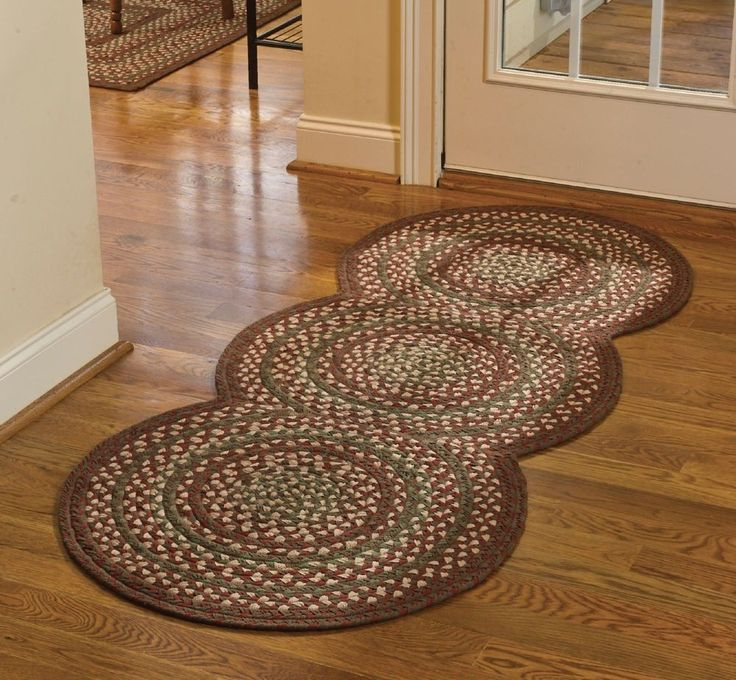 New country primitive red green tan triple circle braided floor runner area rug