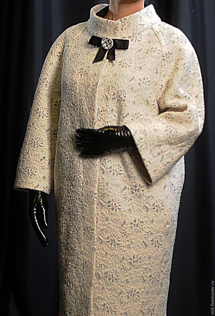"""Купить Пальто-кокон """"Кристобаль-оверсайз"""" - белый, орнамент, пальто-кокон, оверсайз, элегантное пальто"""