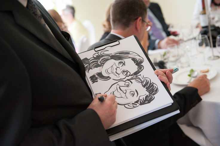 characterture artists are great to entertain guests during the meal or evening