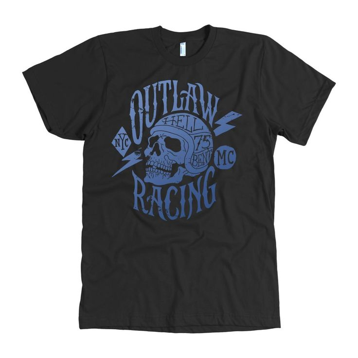 Hell Bent Outlaw Racing Men's American Apparel T-Shirt (Blue)