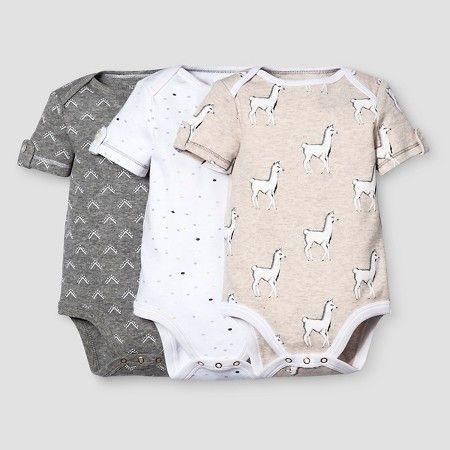 Baby 3-Piece Bodysuit Set Nate Berkus™ - Heather Grey/Oatmeal : Target