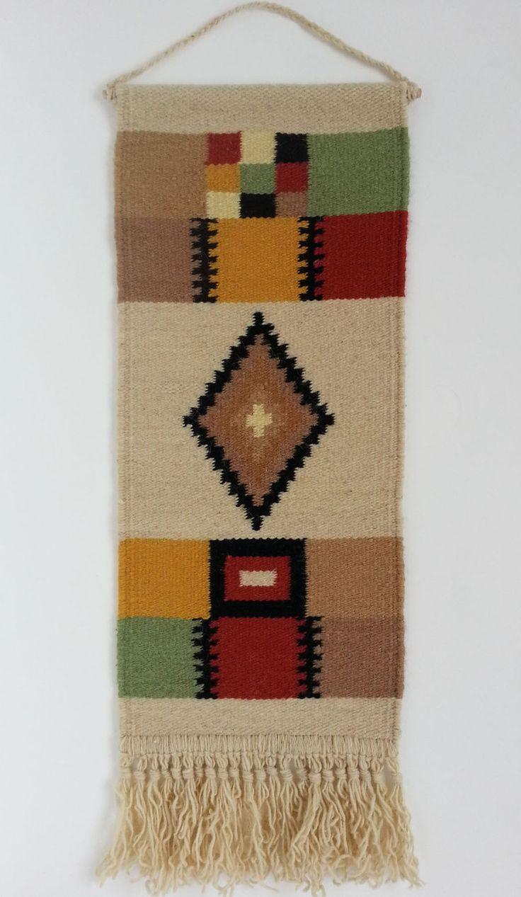 Rustic decor - Hand woven decorative woolen rug - genuine traditional Romanian folk art