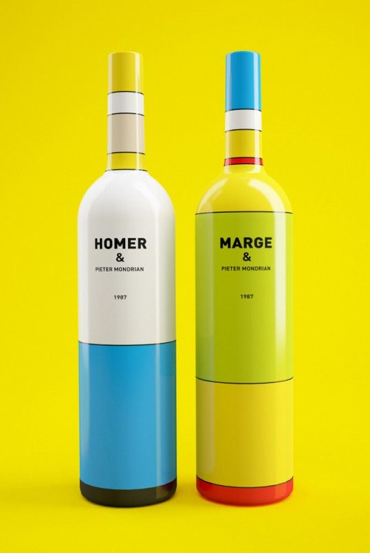 « Wine, or maybe not? » Marge and Homer Simpson meet Pieter Mondrian - by Constantin Bolimond and Dmitry Patsukevich