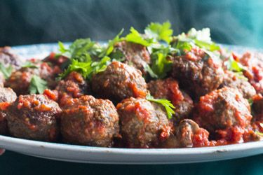 Venison meatballs with red wine plum sauce and celeriac mash