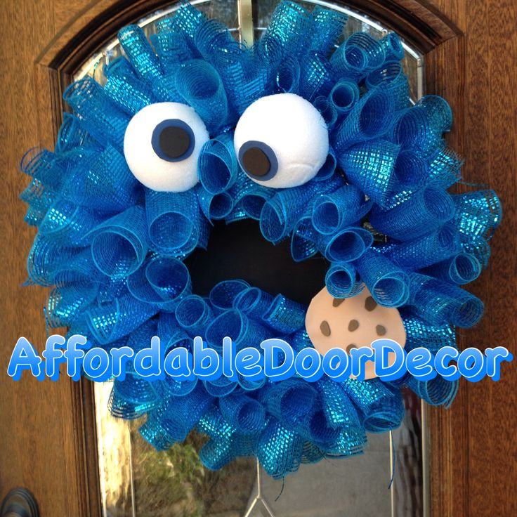 Cookie Monster wreath! Blue curly mesh 2013 AffordableDoorDecor