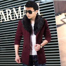 Nueva moda de invierno cuello de piel de lujo capa de lana larga hombres de doble prendas de vestir exteriores Breasted Slim Fit Trench Coats chaquetas M-XXL