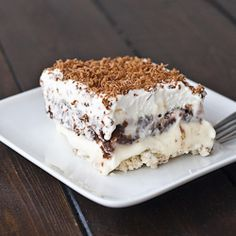 Sex In a Pan - via JoCooks - this looks like a great summer dessert ... pecans, cream these, whipped cream, vanilla and chocolate pudding. Yummy!