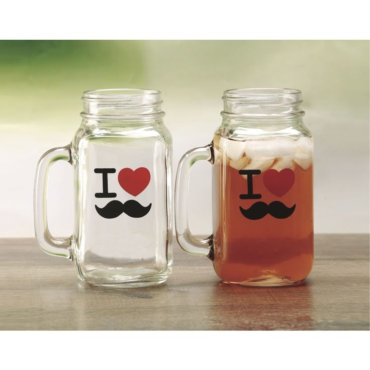 24-ounce 'I Love Mustache' Mason Jar Mugs (Set of 2) (2 Piece 24 Oz I Love Mustache Mason Jar Mugs), Clear (Glass)