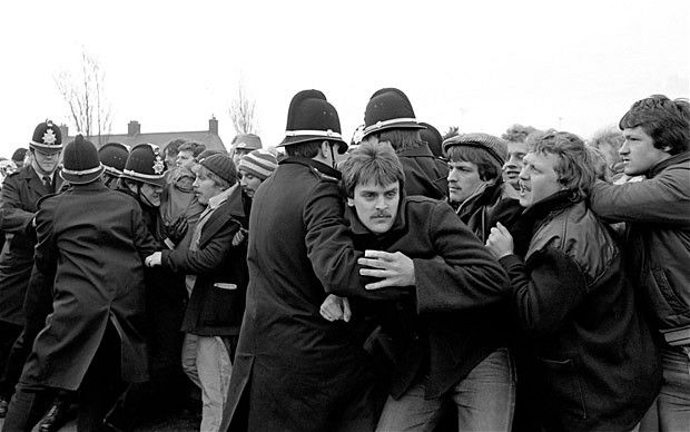 """""""The miner's strike In 1984, the proposed closure of 20 mining pits by Margaret Thatcher's government caused thousands of miners, mainly in Wales and the North of England, to go on strike. The protest, which lasted for over a year, sharply divided public opinion and pushed many of the families involved into extreme poverty."""" (The Telegraph)"""