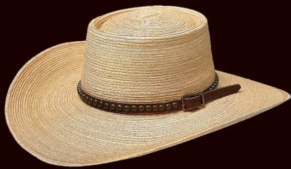 "Natural oak-colored Guatemalan palm, 4"" brim, Elko creased hat, Old West style handmade leather hatband with studs. Available in sizes 6-1/2 - 8."