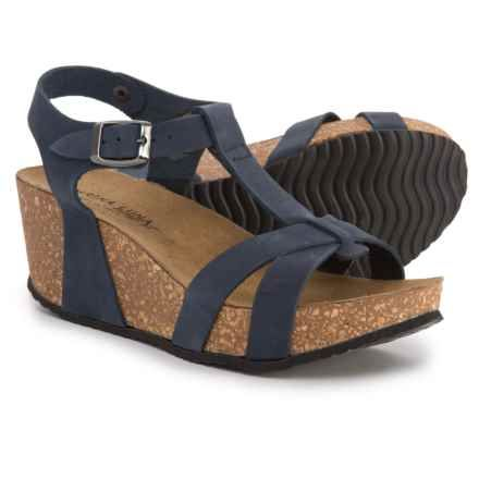 5aa27a3e8 Marina Luna Comfort Made in Italy T-Strap Wedge Sandals - Nubuck (For Women)  in Navy - Closeouts