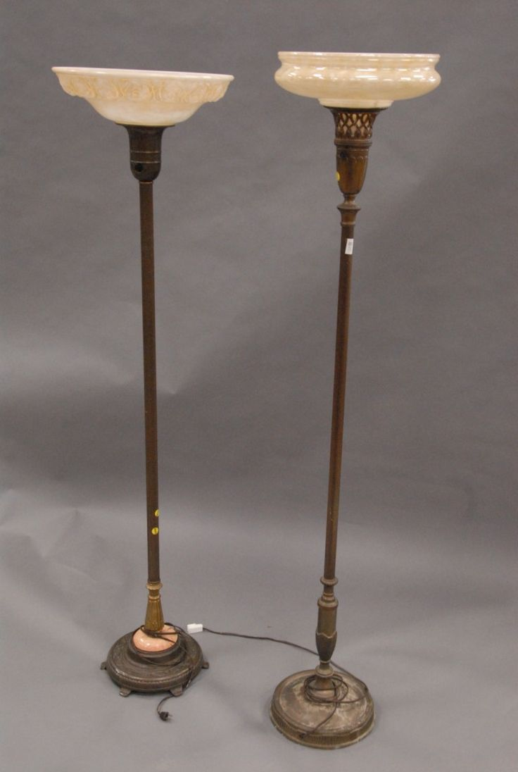 Antique Vintage Floor Lamps: Floor Lamps Parts on Two Vintage Floor Lamps With Indirect Shades,Lighting