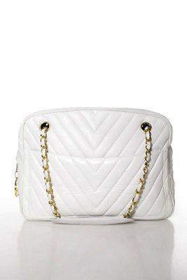 Chanel Vintage White Lambskin Leather Chevron Quilt Shoulder Handbag ... 6aaa12178