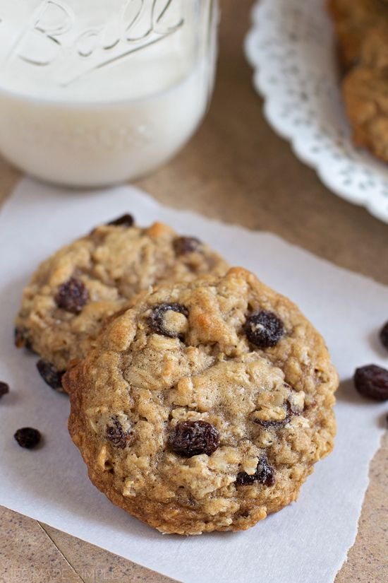 These thick, soft n' chewy oatmeal raisin cookies are sure to become a favorite!