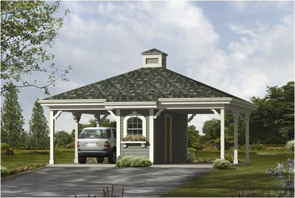 carport with hip roof and storage area