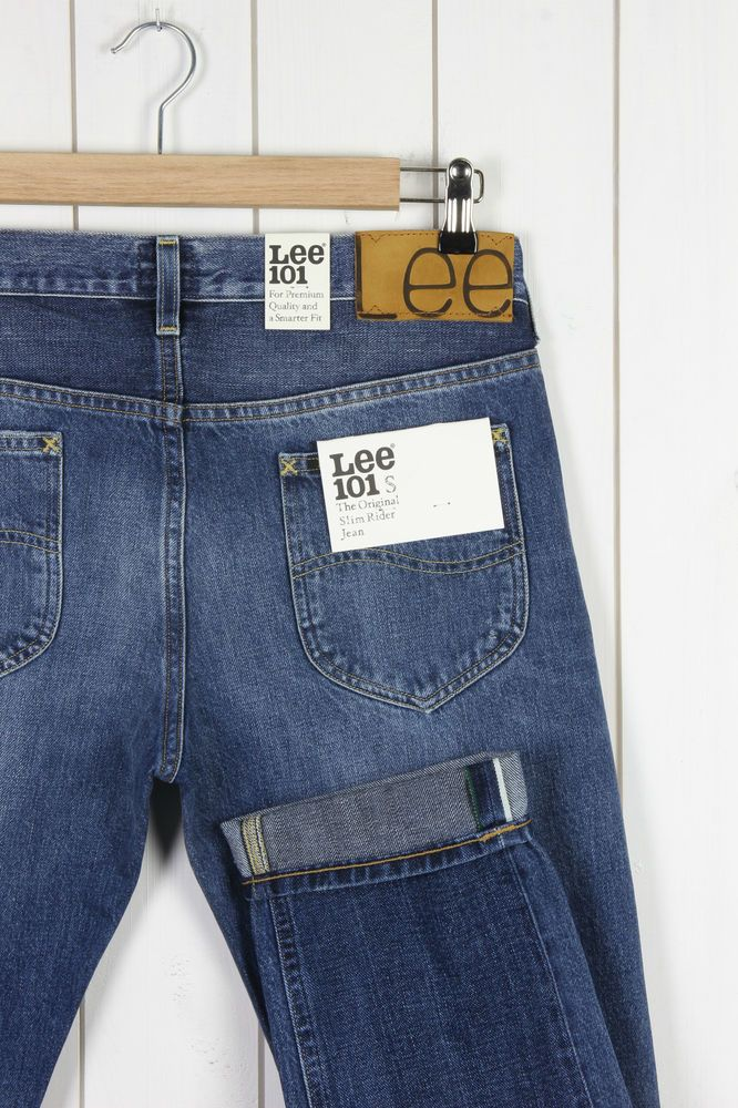 NEW LEE 101S SLIM RIDER JEANS SELVEDGE 12/13Oz DENIM TAPERED L32/L34 -All Sizes