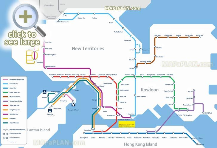 mrt metro subway underground tube line station zone official public transport network diagram Hong Kong top tourist attractions map