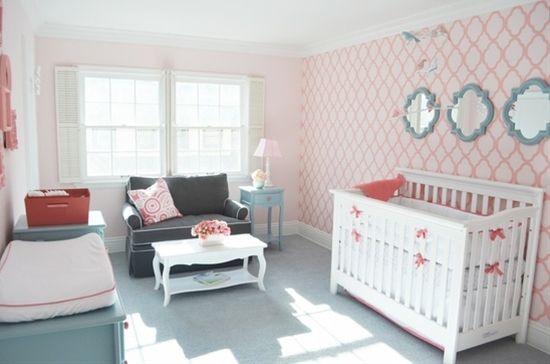 aqua coral nursery - mirrors above crib