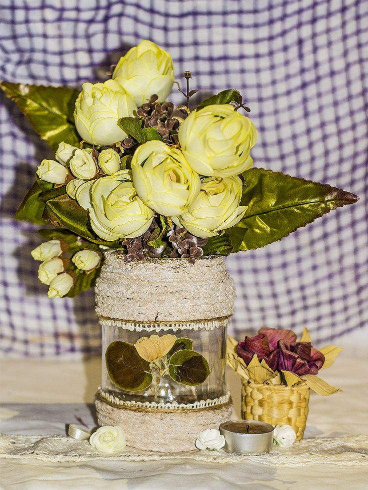 ~ click pe site pentru a cumpăra ~ ❁ ~ I have to say that this was one of my first sold mason jars since I've started my little bazaar in the real life. Well, this is a simple design that everyone could do using twine, rope, lace, pressed flowers, and of course, glue. It's so gentle, delicate, tender, and feminine, like the soul of that woman who desperately wanted to sell it (she gave me the idea to start a small business).