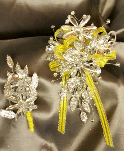 All Bling wrist/arm corsage with yellow accent.