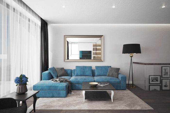Modrá sedačka dominantou priestoru