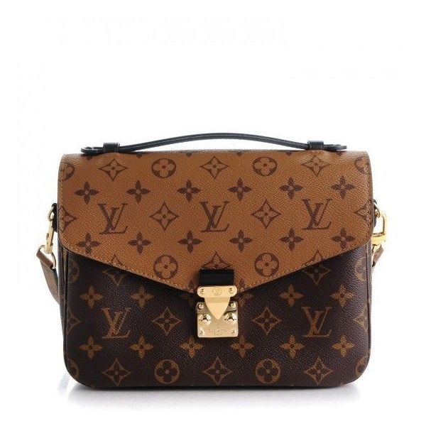 LOUIS VUITTON Reverse Monogram Pochette Metis ❤ liked on Polyvore featuring bags, reversible messenger bag, flap bag, brown bag, flap lock bags and monogrammed messenger bags