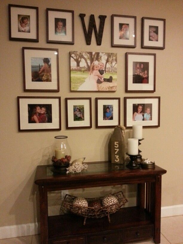 Family photo collage wall. Its started but I need the initial and a couple photos on top