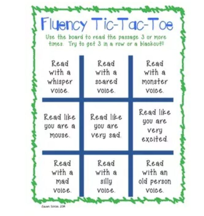 INSTRUCTION - This resources provides different activities for children to use to develop their expression and fluency. To complete the fluency tic tac toe, students needs to read a passage in different voices. Children get the opportunity to experiment with different expressions while re-reading the same text.