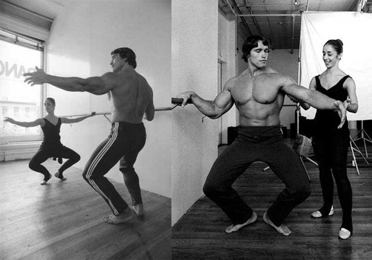 Arnold Schwarzenegger and dancer Marianne-Claire