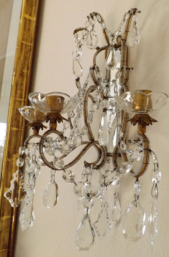 Pair Of Italian Beaded Wall Sconces Three Arm Candle Crystals 1910 S