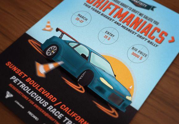 Driftmaniacs Car Poster/Flyer VII by DigitavernShop on Creative Market