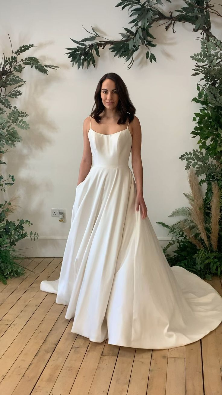 Slipper satin Aline wedding dress with pockets! [Video] in