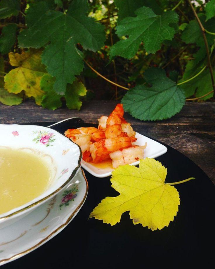 Суп из топинамбура и цукини с креветками, рецепт