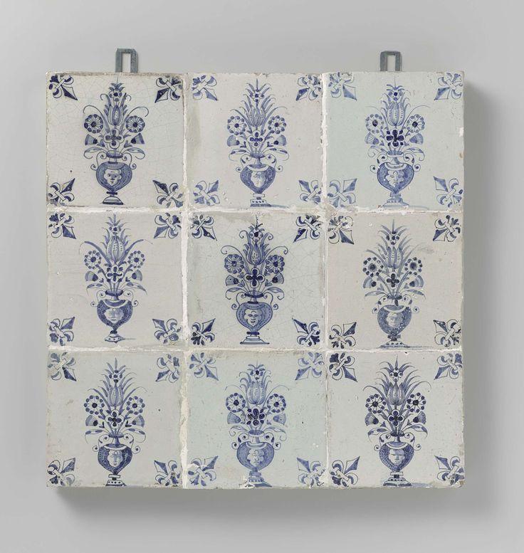 Anonymous | Veld van negen tegels met vazen, Anonymous, c. 1640 - c. 1660 | Veld van negen tegels (3 x 3) elk met een blauw geschilderde vaas. In de hoeken, een lelie. Oorspronkelijk was dit een veld van 16 tegels.