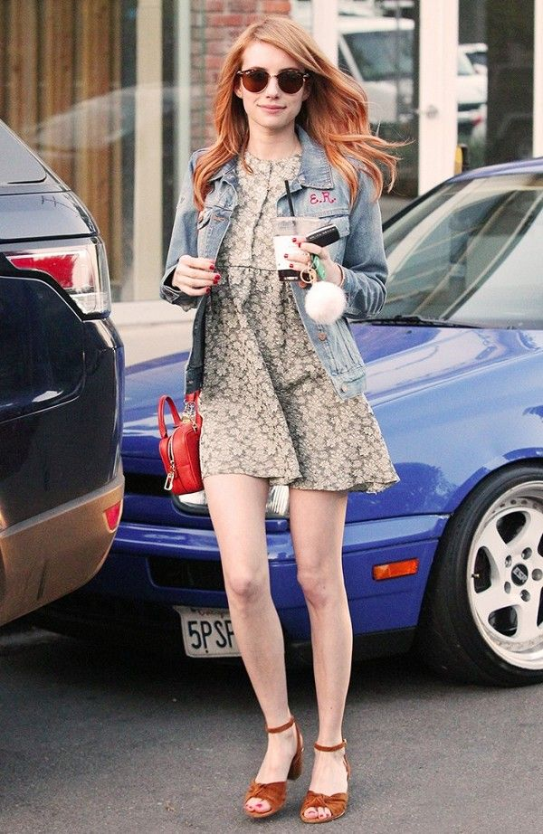 Emma Roberts wears the classic denim jacket + floral dress combo.