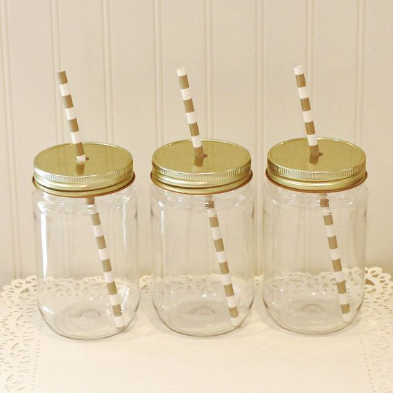 Plastic Mason Jars 10 Plastic Mason Jar Cups by ThePaperedTable Would be great Saints jars!