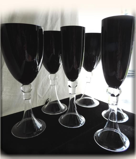 A Set Of Six Black 3 Wine 3 Champagne Glasses Free Shipping Barware Mad Men Style Sustainable Deco Hand Painted Wine Glasses Wine Painted Wine Glasses