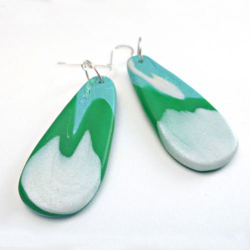 Flat Tear - Green Swirl.  Sterling silver ear hooks. Hand made and unique. $30