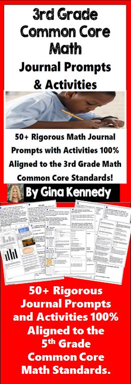 Math Journals Made Easy! With this product, you'll find 50+ daily reproducible math journal prompts and activities directly tied to the 3rd grade Common Core Math Standards.  The math journal activities would make a wonderful addition to your daily journal writing routine or your interactive math journals. You could use the journal prompts throughout the year or use them as a countdown to your state math achievement tests.  The prompts are created so that they can be easily repro...$