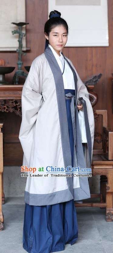 a56384194 Traditional Ancient Chinese Hanfu Embroidered Costume, Asian China Han  Dynasty Cardigan and Skirt Clothing for Men