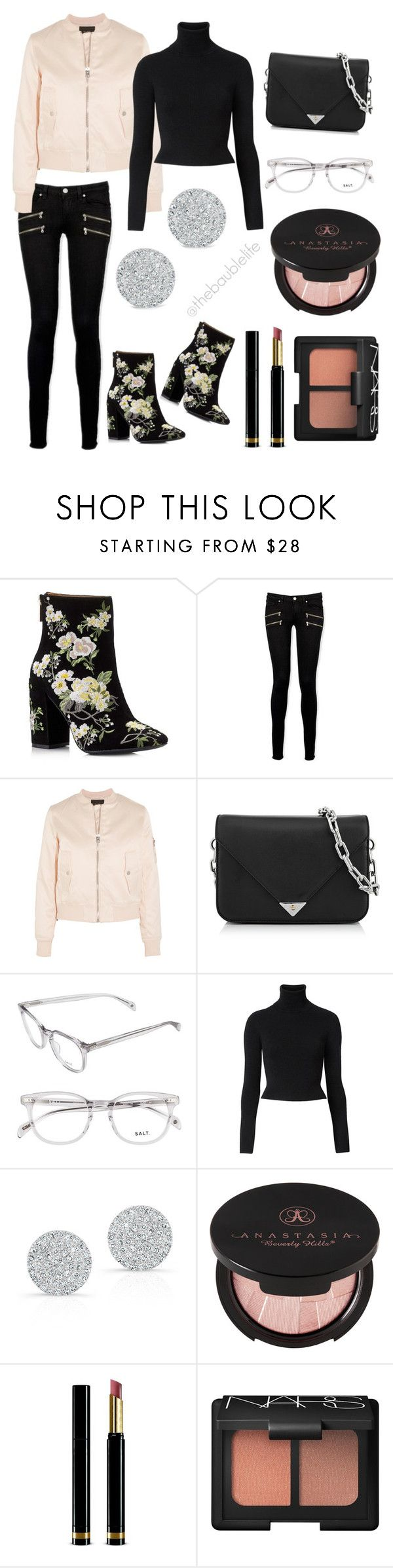 """Date Style - Miss Selfridge Athena Floral Embroidered Boot"" by thebaublelife ❤ liked on Polyvore featuring Miss Selfridge, Paige Denim, Maje, Alexander Wang, Witchery, Anne Sisteron, Anastasia Beverly Hills, Gucci, NARS Cosmetics and Fall"