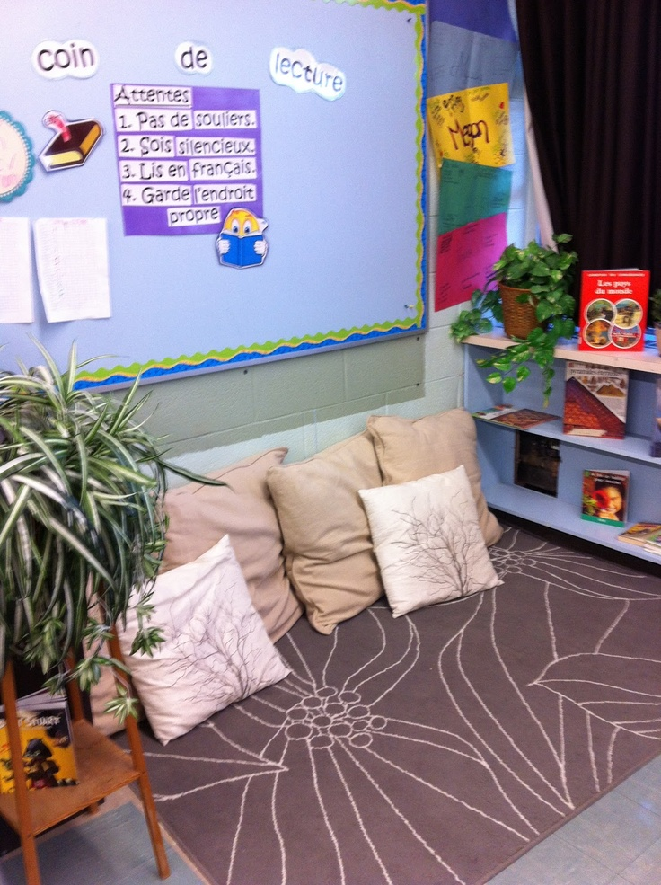 Reading corner for middle school - Surviving middle school; a French immersion teacher's blog.