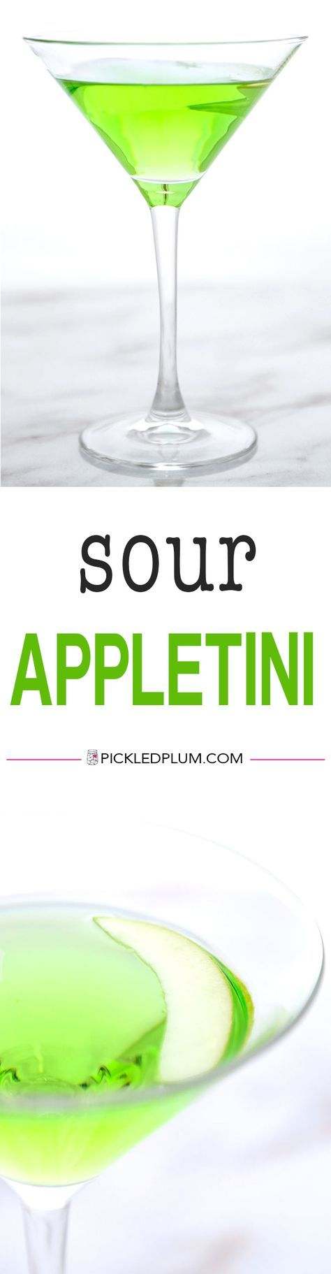Sour Appletini (Video) - A very green and puckery Sour Appletini Recipe that tastes just like Granny Smith apples! Only 3 ingredients needed! Recipe, drinks, cocktail, martini, Thanksgiving, holiday drink, vodka | pickledplum.com