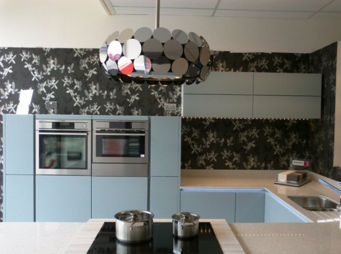 Love The Pale Blue Cabinets U0026 Monochrome Wallpaper In This Kitchen. The  Vintage Cooker Hood